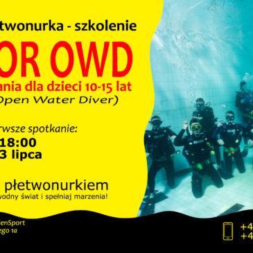 3.07.2020 – Kurs nurkowania dla dzieci 10-15 lat – płetwonurek Junior OWD